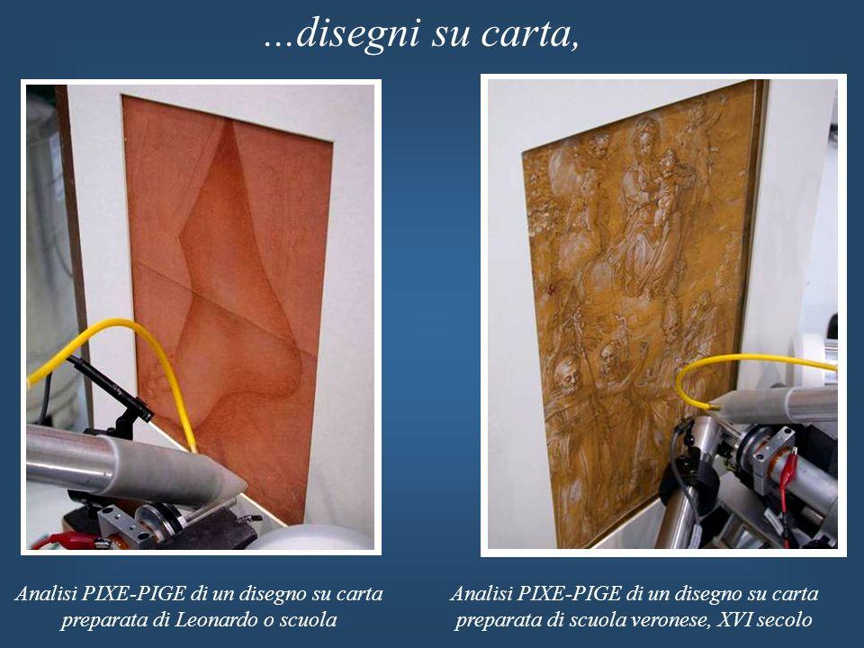 ...disegni su carta, Analisi PIXE-PIGE di un disegno su carta preparata di Leonardo o scuola Analisi PIXE-PIGE di un disegno su carta preparata di scu