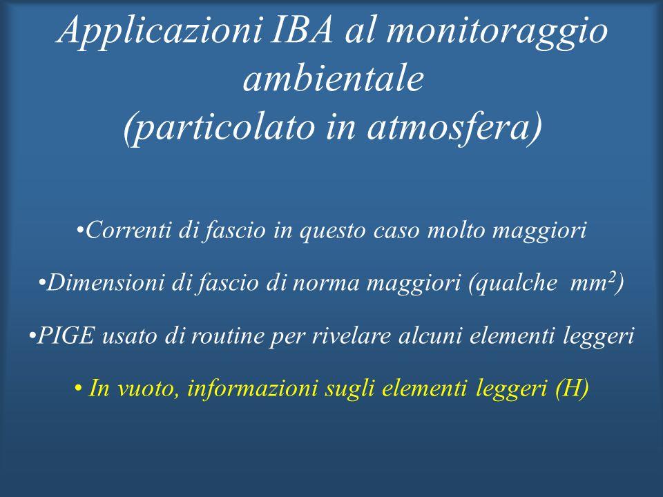 Applicazioni IBA al monitoraggio ambientale (particolato in atmosfera) Correnti di fascio in questo caso molto maggiori Dimensioni di fascio di norma