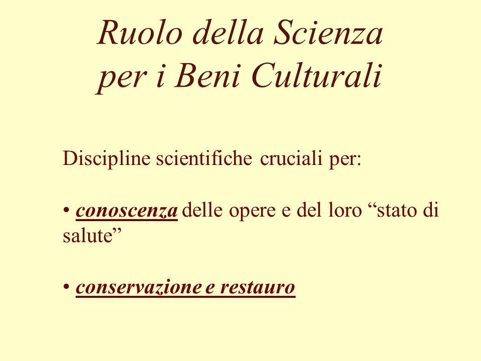 Ruolo della Scienza per i Beni Culturali Discipline scientifiche cruciali per: conoscenza delle opere e del loro stato di salute conservazione e resta