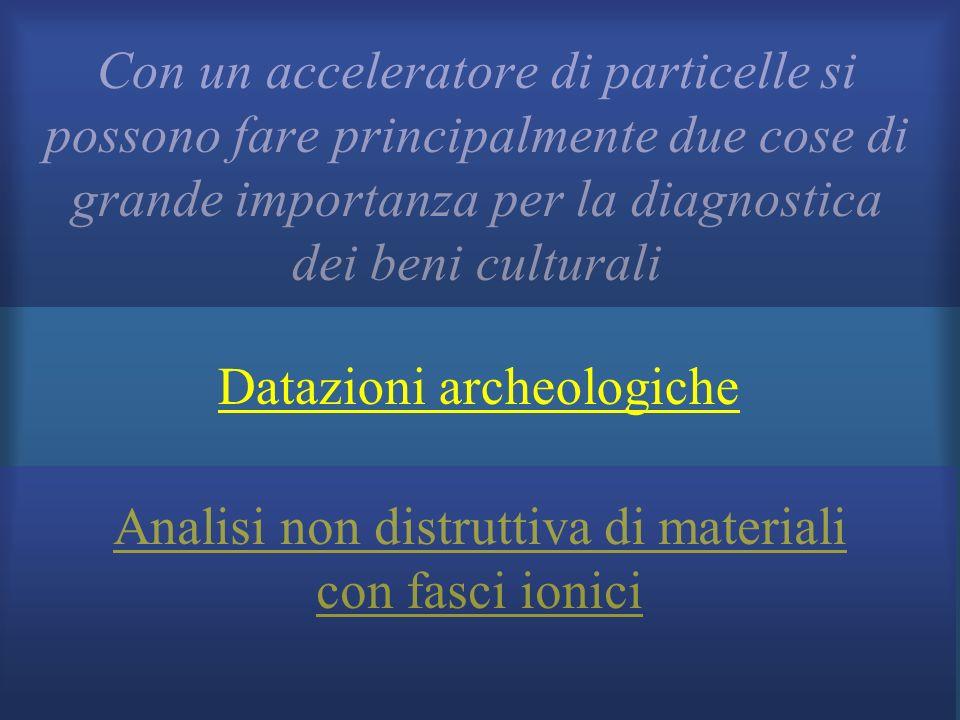Datazioni archeologiche Analisi non distruttiva di materiali con fasci ionici Con un acceleratore di particelle si possono fare principalmente due cos