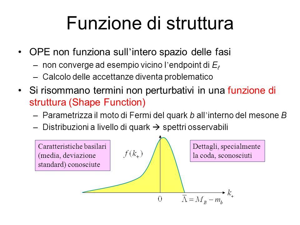 Funzione di struttura OPE non funziona sull intero spazio delle fasi –non converge ad esempio vicino l endpoint di E –Calcolo delle accettanze diventa problematico Si risommano termini non perturbativi in una funzione di struttura (Shape Function) –Parametrizza il moto di Fermi del quark b all interno del mesone B –Distribuzioni a livello di quark spettri osservabili Caratteristiche basilari (media, deviazione standard) conosciute Dettagli, specialmente la coda, sconosciuti