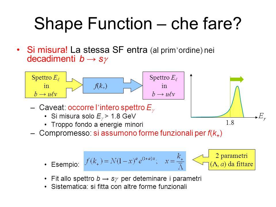 Shape Function – che fare? Si misura! La stessa SF entra (al prim ordine) nei decadimenti b s –Caveat: occorre l intero spettro E Si misura solo E > 1