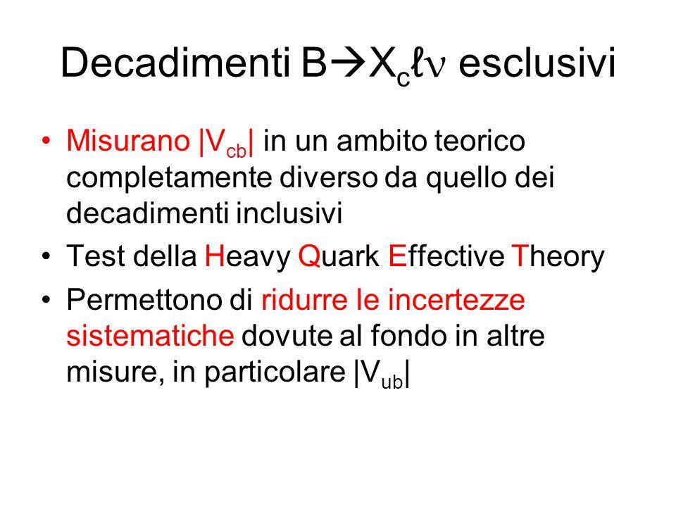 Decadimenti B X c ν esclusivi Misurano |V cb | in un ambito teorico completamente diverso da quello dei decadimenti inclusivi Test della Heavy Quark Effective Theory Permettono di ridurre le incertezze sistematiche dovute al fondo in altre misure, in particolare |V ub |