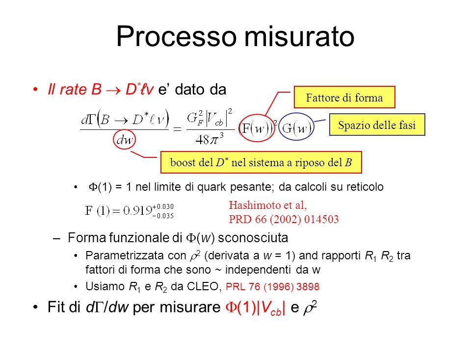 Processo misurato Il rate B D *v e dato da F(1) = 1 nel limite di quark pesante; da calcoli su reticolo –Forma funzionale di F(w) sconosciuta Parametr