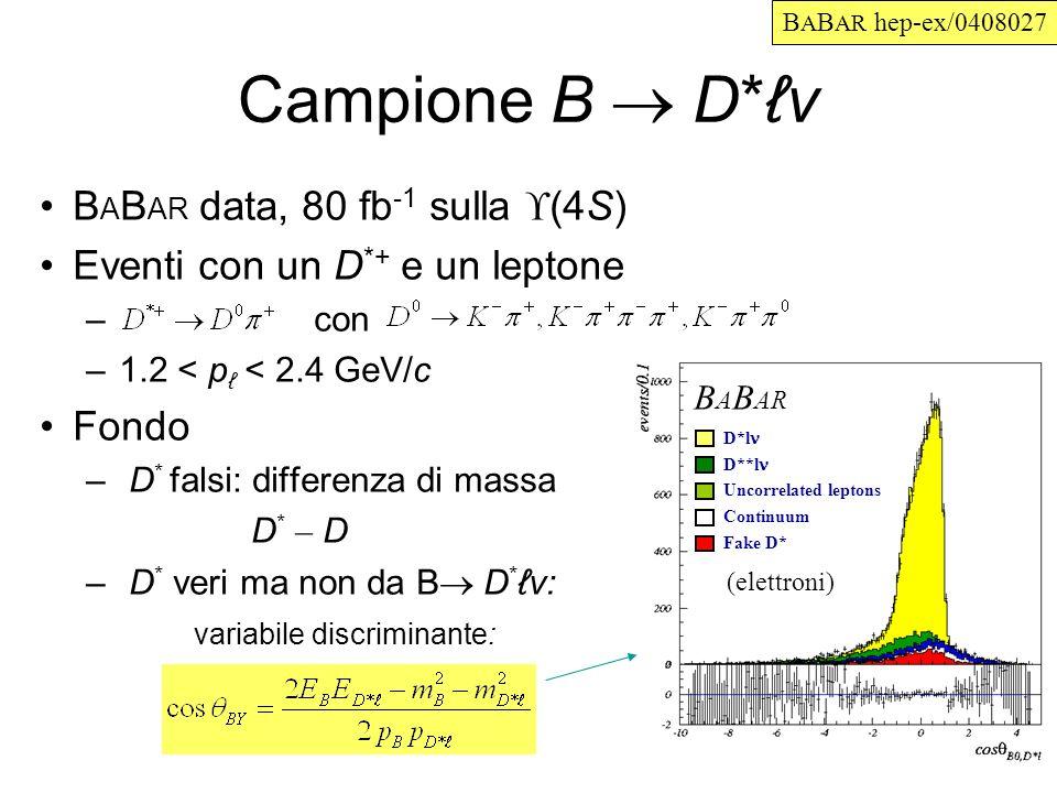 Campione B D*v B A B AR data, 80 fb -1 sulla (4S) Eventi con un D *+ e un leptone – con –1.2 < p < 2.4 GeV/c Fondo – D * falsi: differenza di massa D * – D – D * veri ma non da B D *v: variabile discriminante: D*l D**l Uncorrelated leptons Continuum Fake D* B A B AR (elettroni) B A B AR hep-ex/0408027