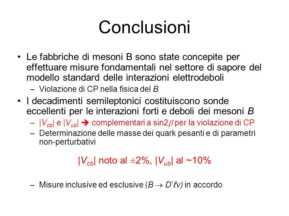 Conclusioni Le fabbriche di mesoni B sono state concepite per effettuare misure fondamentali nel settore di sapore del modello standard delle interazioni elettrodeboli –Violazione di CP nella fisica del B I decadimenti semileptonici costituiscono sonde eccellenti per le interazioni forti e deboli dei mesoni B –|V cb | e |V ub | complementari a sin2 per la violazione di CP –Determinazione delle masse dei quark pesanti e di parametri non-perturbativi |V cb | noto al ±2%, |V ub | al ~10% –Misure inclusive ed esclusive (B D *v) in accordo