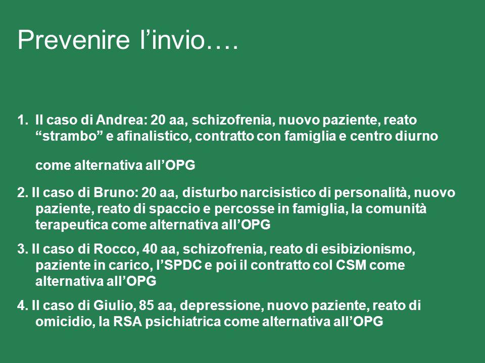 Prevenire linvio…. 1.Il caso di Andrea: 20 aa, schizofrenia, nuovo paziente, reato strambo e afinalistico, contratto con famiglia e centro diurno come