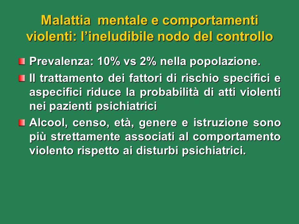Malattia mentale e comportamenti violenti: lineludibile nodo del controllo Prevalenza: 10% vs 2% nella popolazione. Il trattamento dei fattori di risc