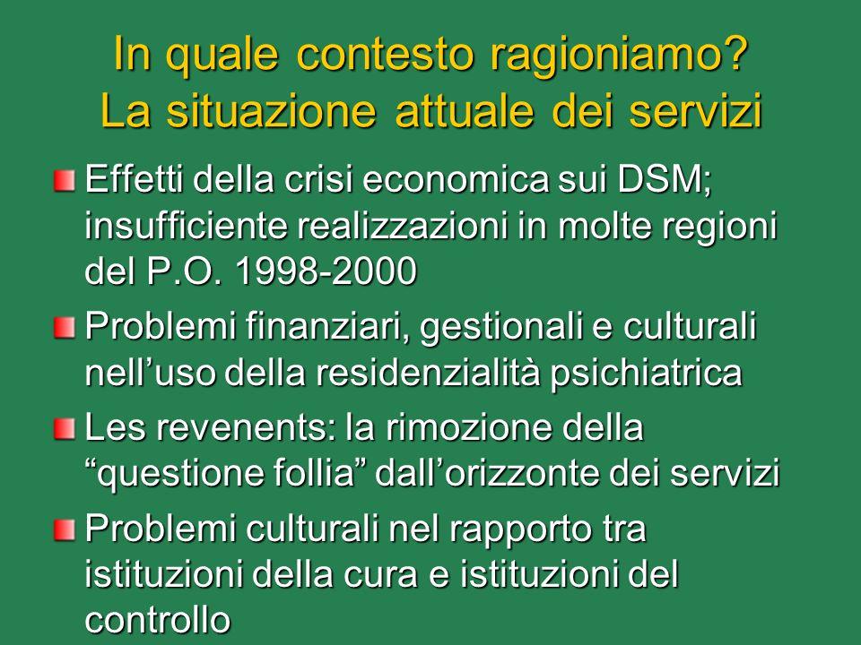 In quale contesto ragioniamo? La situazione attuale dei servizi Effetti della crisi economica sui DSM; insufficiente realizzazioni in molte regioni de