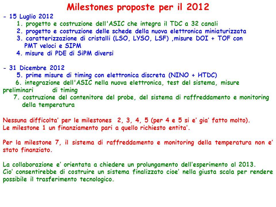 Milestones proposte per il 2012 - 15 Luglio 2012 1.