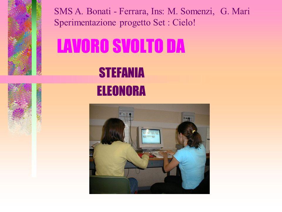 LAVORO SVOLTO DA STEFANIA ELEONORA SMS A.Bonati - Ferrara, Ins: M.