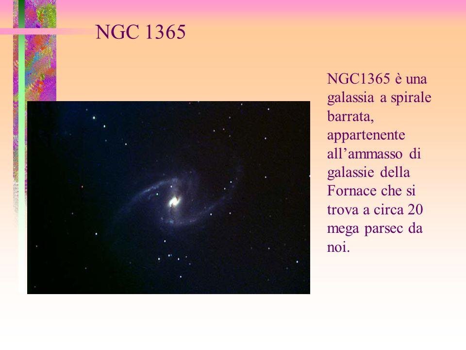 NGC 1365 NGC1365 è una galassia a spirale barrata, appartenente allammasso di galassie della Fornace che si trova a circa 20 mega parsec da noi.