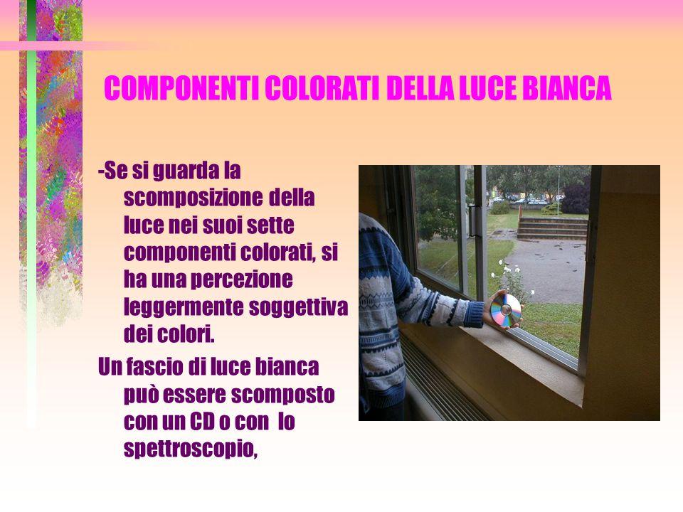 COMPONENTI COLORATI DELLA LUCE BIANCA -Se si guarda la scomposizione della luce nei suoi sette componenti colorati, si ha una percezione leggermente s