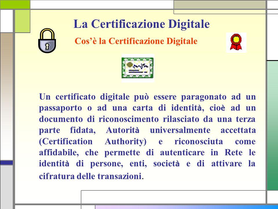 La Certificazione Digitale Cosè la Certificazione Digitale Un certificato digitale può essere paragonato ad un passaporto o ad una carta di identit à,