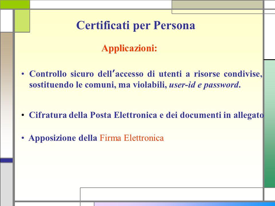 Certificati per Persona Applicazioni: Cifratura della Posta Elettronica e dei documenti in allegato Apposizione della Firma Elettronica Controllo sicu