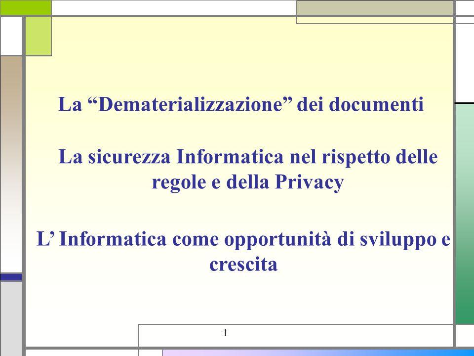 L Informatica come opportunità di sviluppo e crescita 1 La Dematerializzazione dei documenti La sicurezza Informatica nel rispetto delle regole e dell