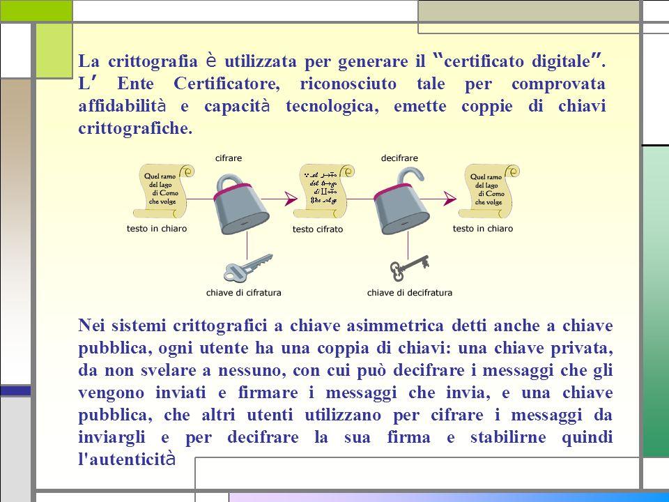 La crittografia è utilizzata per generare il certificato digitale. L Ente Certificatore, riconosciuto tale per comprovata affidabilit à e capacit à te