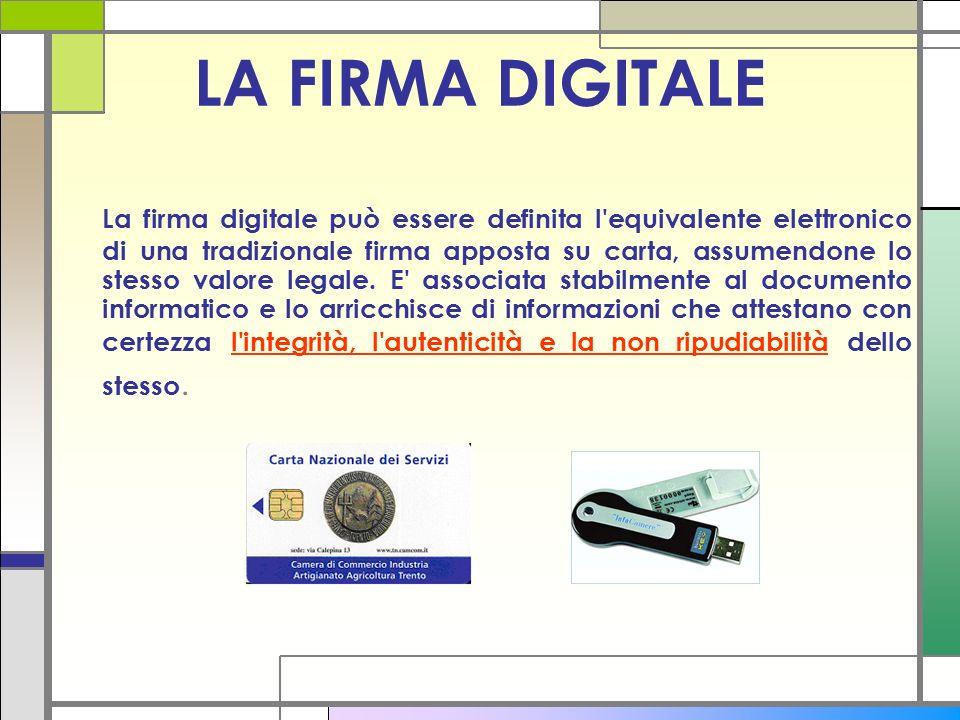 LA FIRMA DIGITALE La firma digitale può essere definita l'equivalente elettronico di una tradizionale firma apposta su carta, assumendone lo stesso va