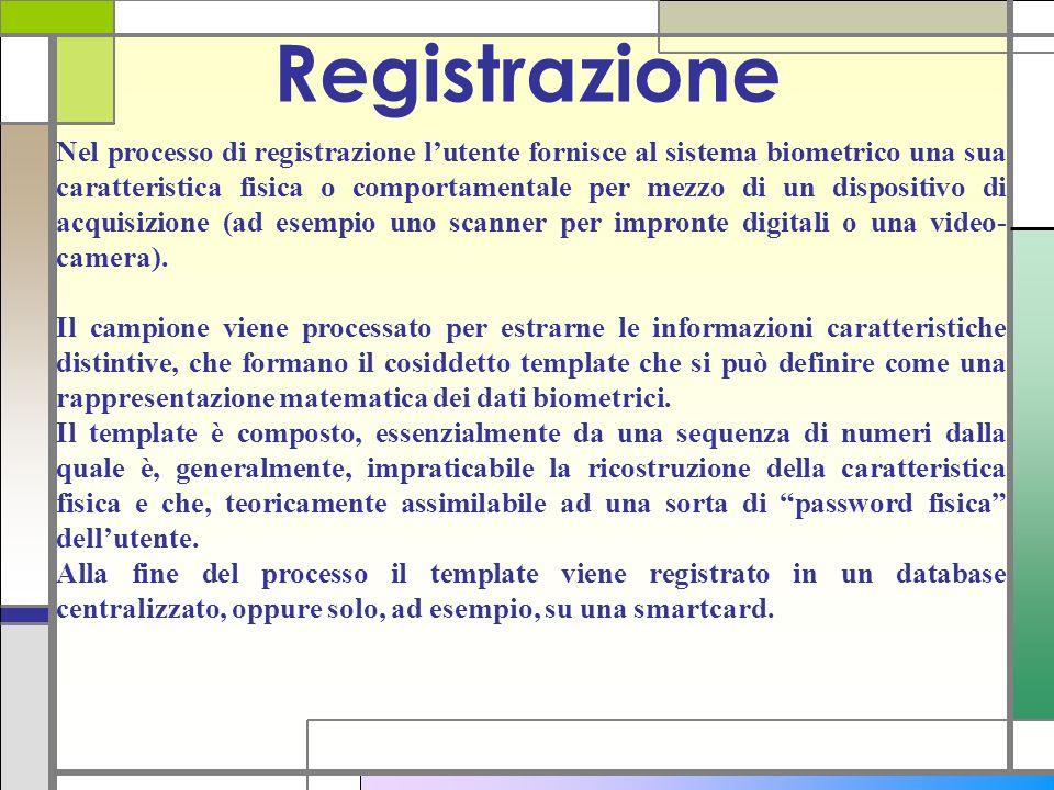 Nel processo di registrazione lutente fornisce al sistema biometrico una sua caratteristica fisica o comportamentale per mezzo di un dispositivo di ac