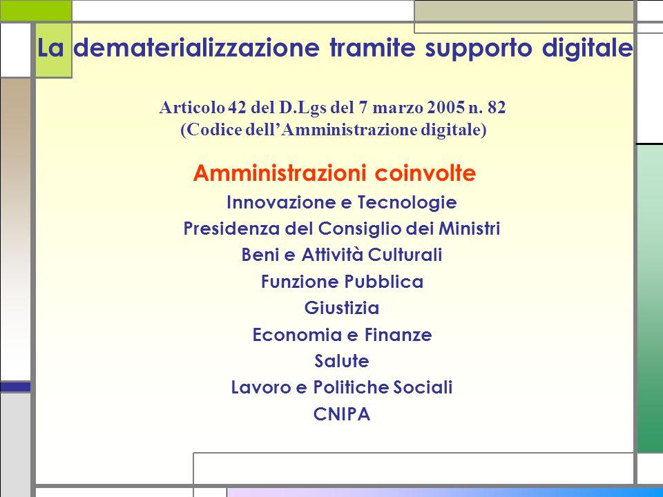La dematerializzazione tramite supporto digitale Amministrazioni coinvolte Innovazione e Tecnologie Presidenza del Consiglio dei Ministri Beni e Attiv