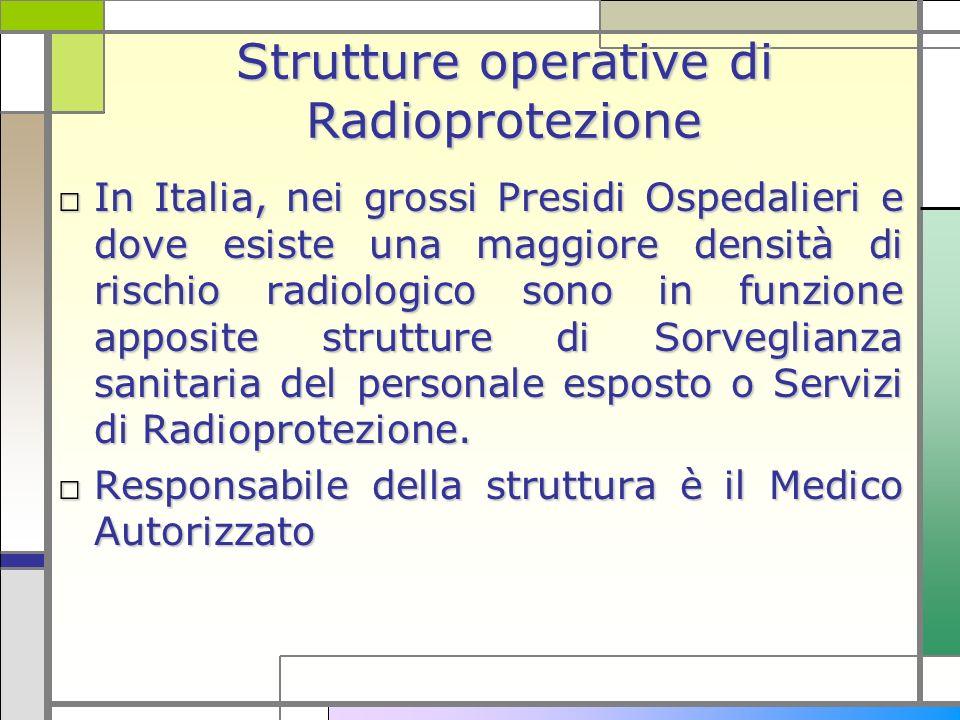 Strutture operative di Radioprotezione In Italia, nei grossi Presidi Ospedalieri e dove esiste una maggiore densità di rischio radiologico sono in fun