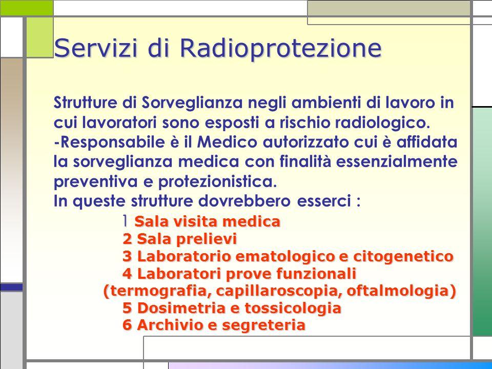 Servizi di Radioprotezione 1 Sala visita medica 2 Sala prelievi 3 Laboratorio ematologico e citogenetico 4 Laboratori prove funzionali (termografia, c