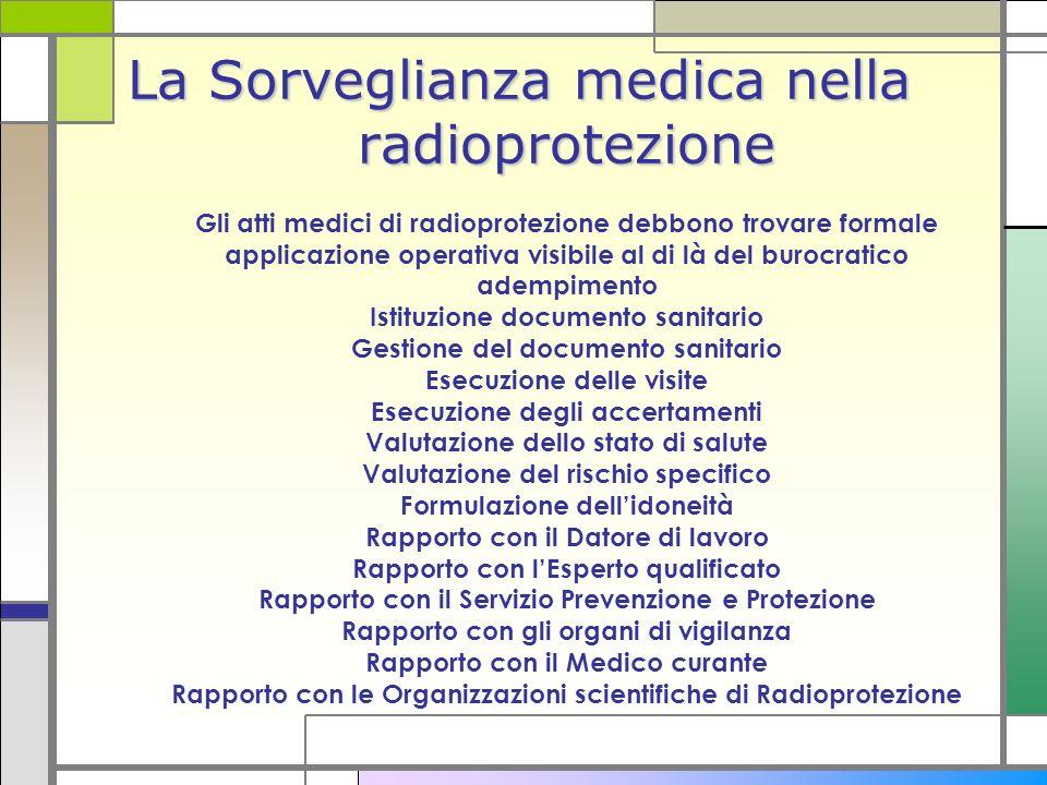 La Sorveglianza medica nella radioprotezione La Sorveglianza medica nella radioprotezione Gli atti medici di radioprotezione debbono trovare formale a