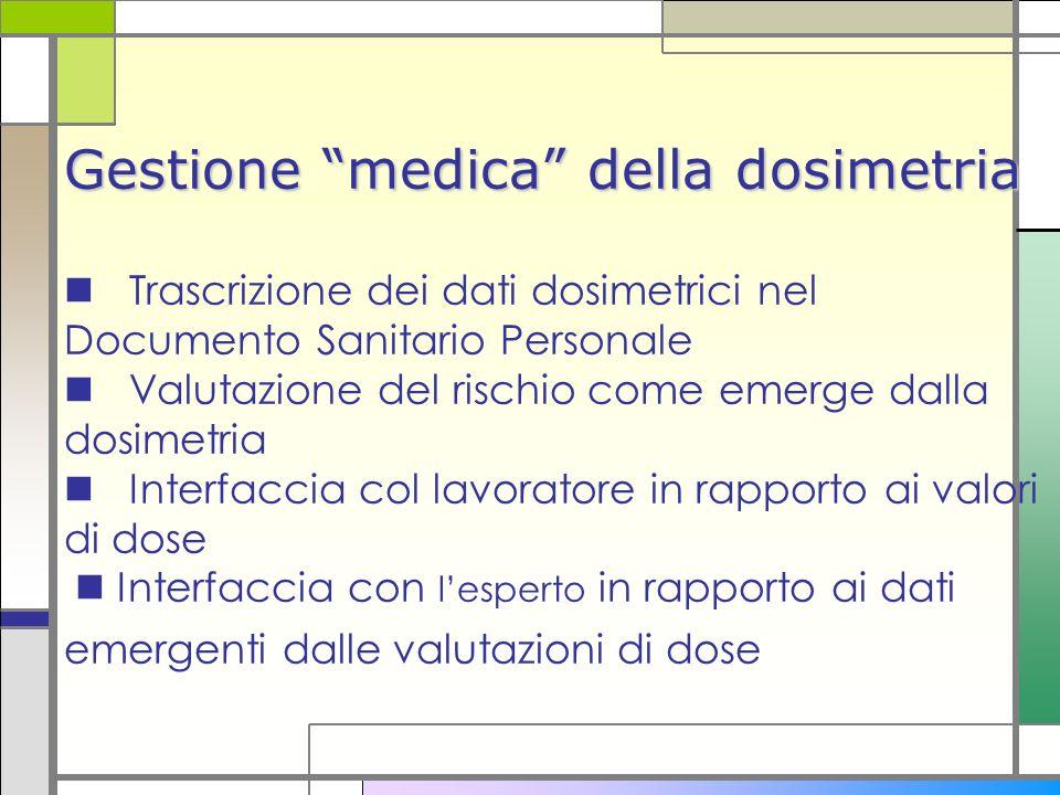 Gestione medica della dosimetria Gestione medica della dosimetria Trascrizione dei dati dosimetrici nel Documento Sanitario Personale Valutazione del