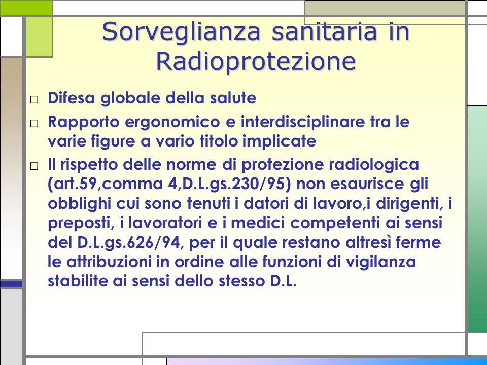 Sorveglianza sanitaria in Radioprotezione Difesa globale della salute Rapporto ergonomico e interdisciplinare tra le varie figure a vario titolo impli