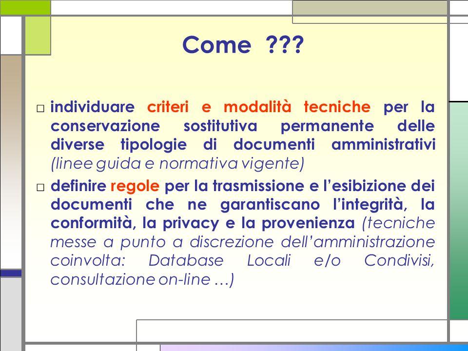 Come ??? individuare criteri e modalità tecniche per la conservazione sostitutiva permanente delle diverse tipologie di documenti amministrativi (line