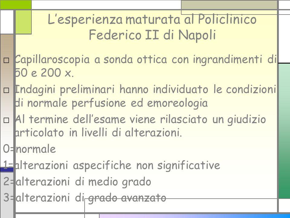 Lesperienza maturata al Policlinico Federico II di Napoli Capillaroscopia a sonda ottica con ingrandimenti di 50 e 200 x. Indagini preliminari hanno i