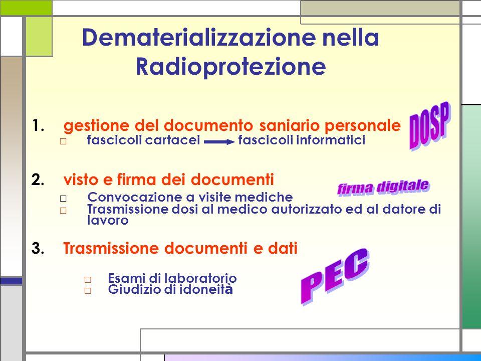 Dematerializzazione nella Radioprotezione 1.gestione del documento saniario personale fascicoli cartacei fascicoli informatici 2.visto e firma dei doc