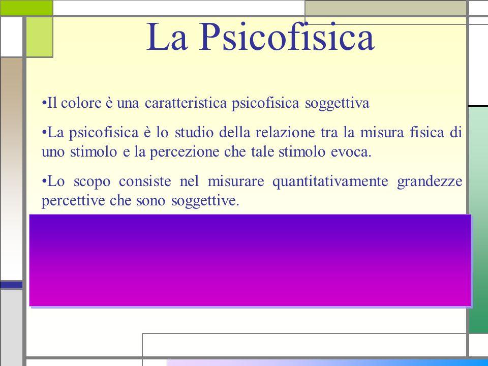 La Psicofisica Il colore è una caratteristica psicofisica soggettiva La psicofisica è lo studio della relazione tra la misura fisica di uno stimolo e