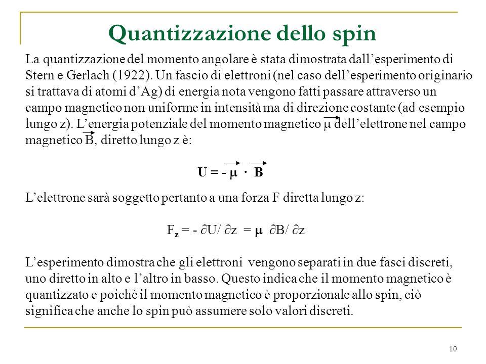 10 Quantizzazione dello spin Lelettrone sarà soggetto pertanto a una forza F diretta lungo z: F z = - U/ z = B/ z Lesperimento dimostra che gli elettr
