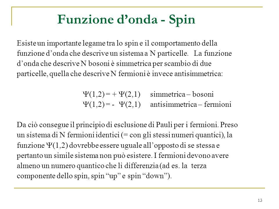 13 Funzione donda - Spin Esiste un importante legame tra lo spin e il comportamento della funzione donda che descrive un sistema a N particelle. La fu