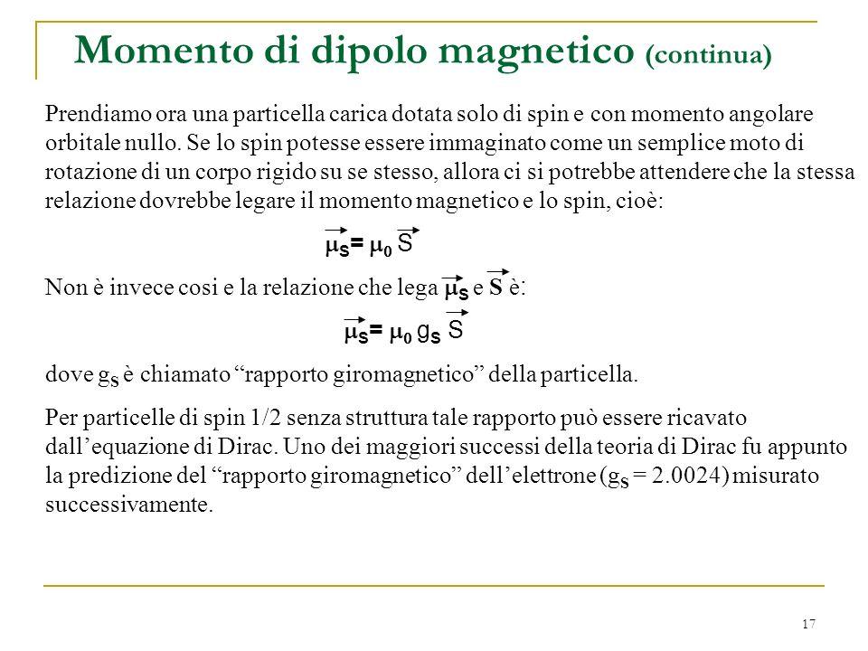 17 Momento di dipolo magnetico (continua) Prendiamo ora una particella carica dotata solo di spin e con momento angolare orbitale nullo. Se lo spin po