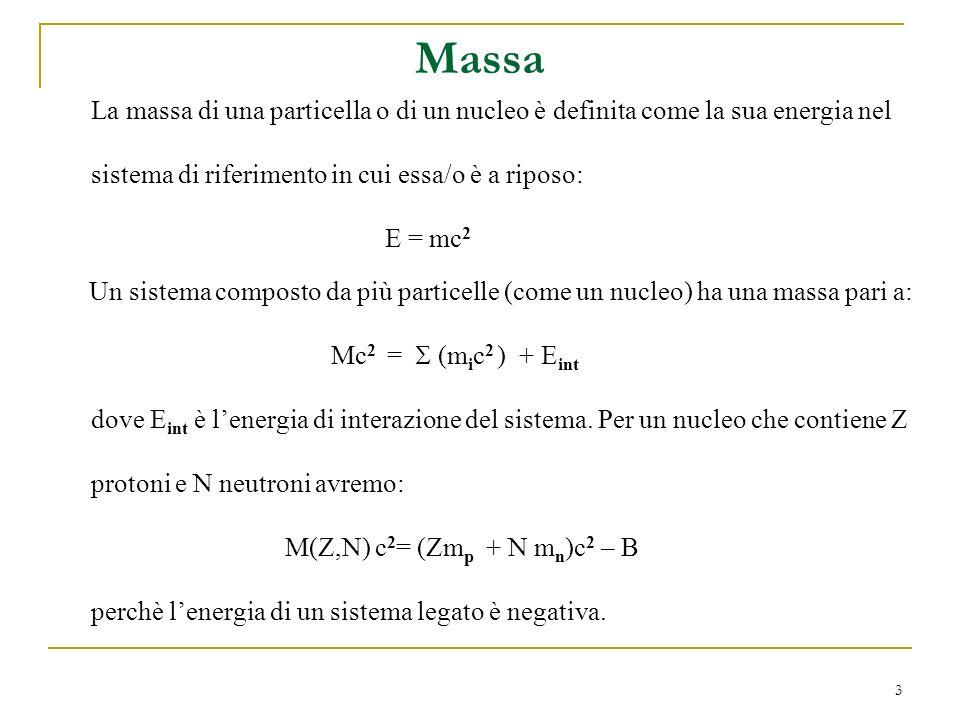 3 La massa di una particella o di un nucleo è definita come la sua energia nel sistema di riferimento in cui essa/o è a riposo: E = mc 2 Un sistema co