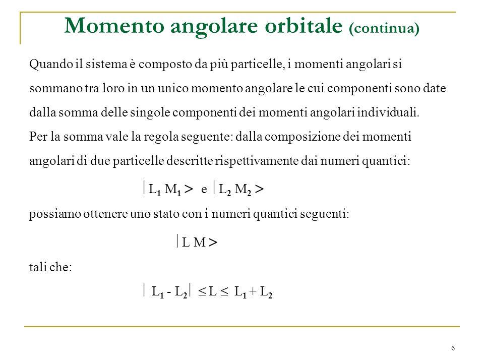 6 Quando il sistema è composto da più particelle, i momenti angolari si sommano tra loro in un unico momento angolare le cui componenti sono date dall