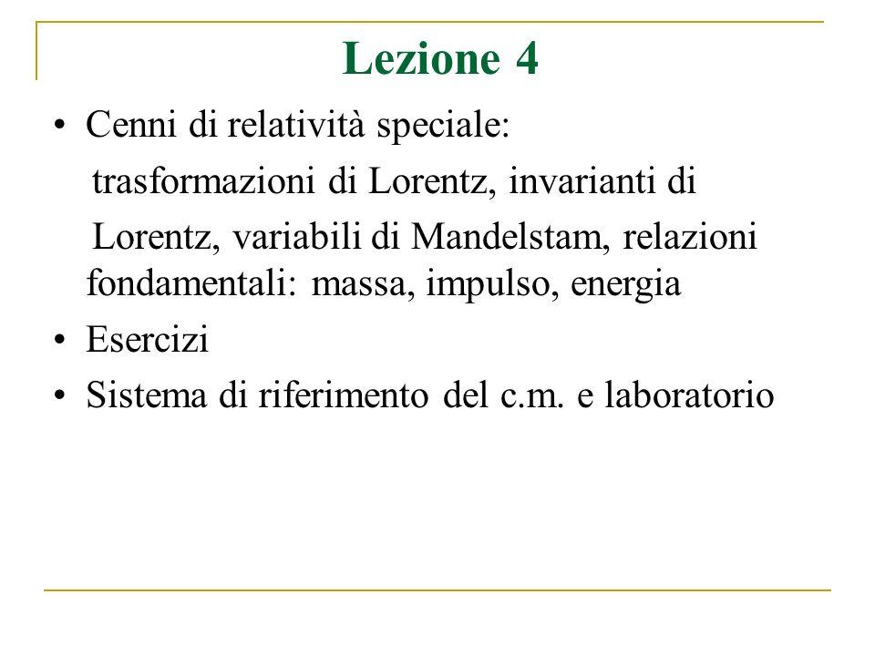 Lezione 4 Cenni di relatività speciale: trasformazioni di Lorentz, invarianti di Lorentz, variabili di Mandelstam, relazioni fondamentali: massa, impulso, energia Esercizi Sistema di riferimento del c.m.