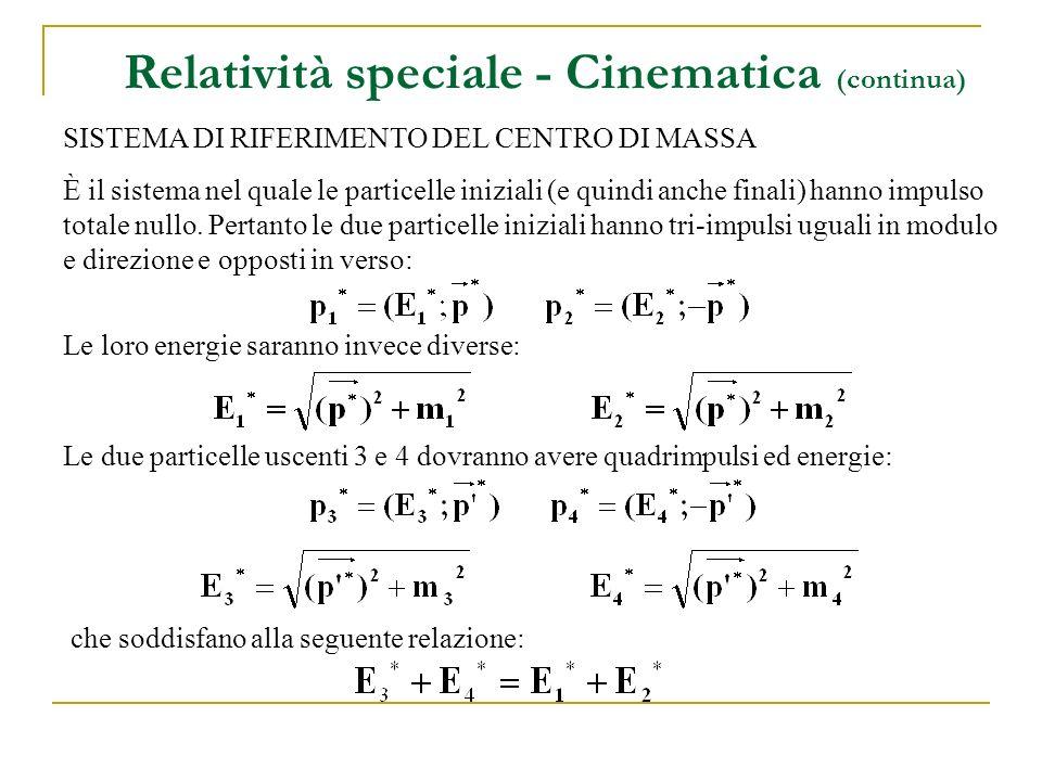 Relatività speciale - Cinematica (continua) SISTEMA DI RIFERIMENTO DEL CENTRO DI MASSA È il sistema nel quale le particelle iniziali (e quindi anche finali) hanno impulso totale nullo.