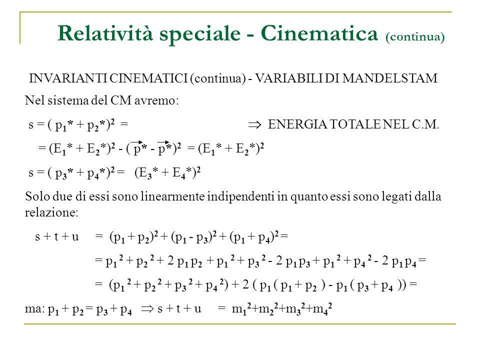 Relatività speciale - Cinematica (continua) INVARIANTI CINEMATICI (continua) - VARIABILI DI MANDELSTAM Nel sistema del CM avremo: s = ( p 1 * + p 2 *) 2 = ENERGIA TOTALE NEL C.M.