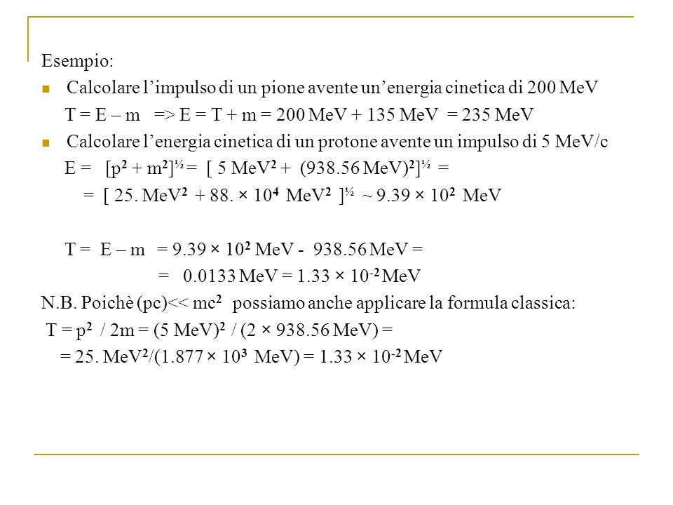 Esempio: Calcolare limpulso di un pione avente unenergia cinetica di 200 MeV T = E – m => E = T + m = 200 MeV + 135 MeV = 235 MeV Calcolare lenergia cinetica di un protone avente un impulso di 5 MeV/c E = [p 2 + m 2 ] ½ = [ 5 MeV 2 + (938.56 MeV) 2 ] ½ = = [ 25.