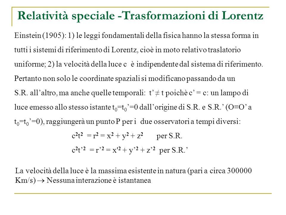 Einstein (1905): 1) le leggi fondamentali della fisica hanno la stessa forma in tutti i sistemi di riferimento di Lorentz, cioè in moto relativo traslatorio uniforme; 2) la velocità della luce c è indipendente dal sistema di riferimento.