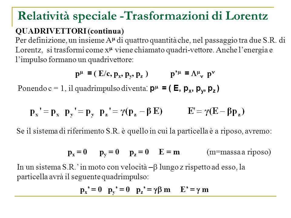Relatività speciale -Trasformazioni di Lorentz QUADRIVETTORI (continua) Anche le derivate temporale e spaziali possono formare un quadrivettore covariante: = ( 1/c t, ) (c=1) = ( t, ) e il corrispondente controvariante sarà il vettore: = ( t, - )