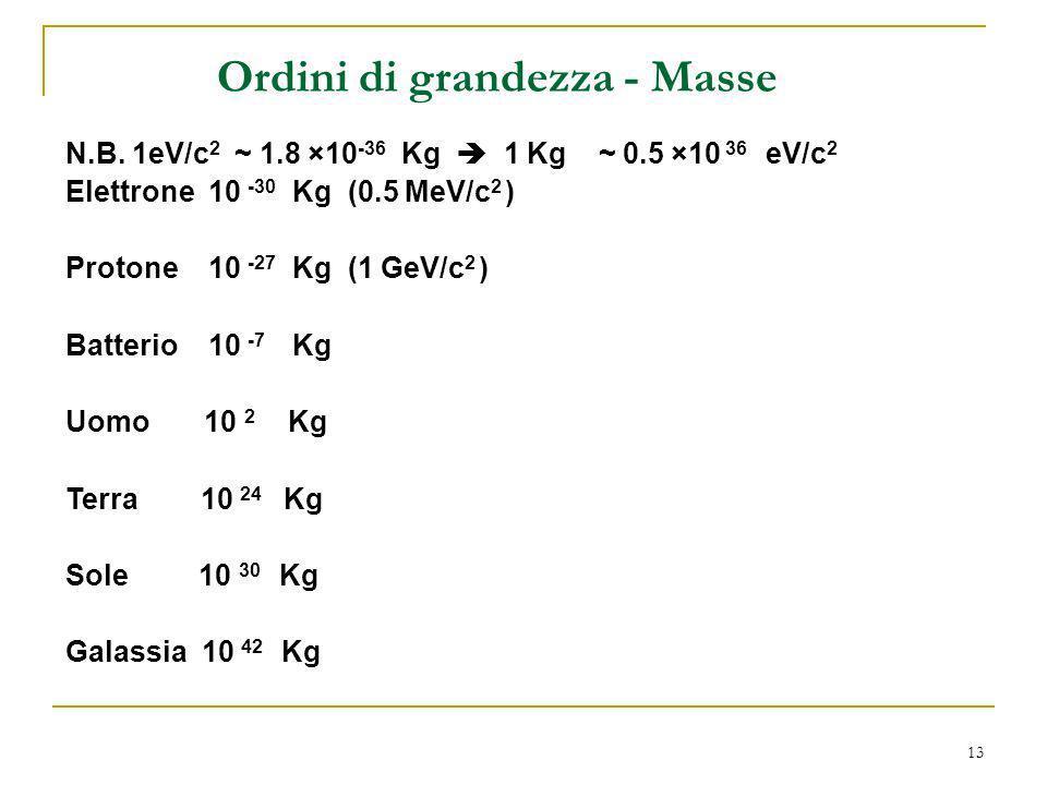 13 Ordini di grandezza - Masse N.B. 1eV/c 2 ~ 1.8 ×10 -36 Kg 1 Kg ~ 0.5 ×10 36 eV/c 2 Elettrone 10 -30 Kg (0.5 MeV/c 2 ) Protone 10 -27 Kg (1 GeV/c 2