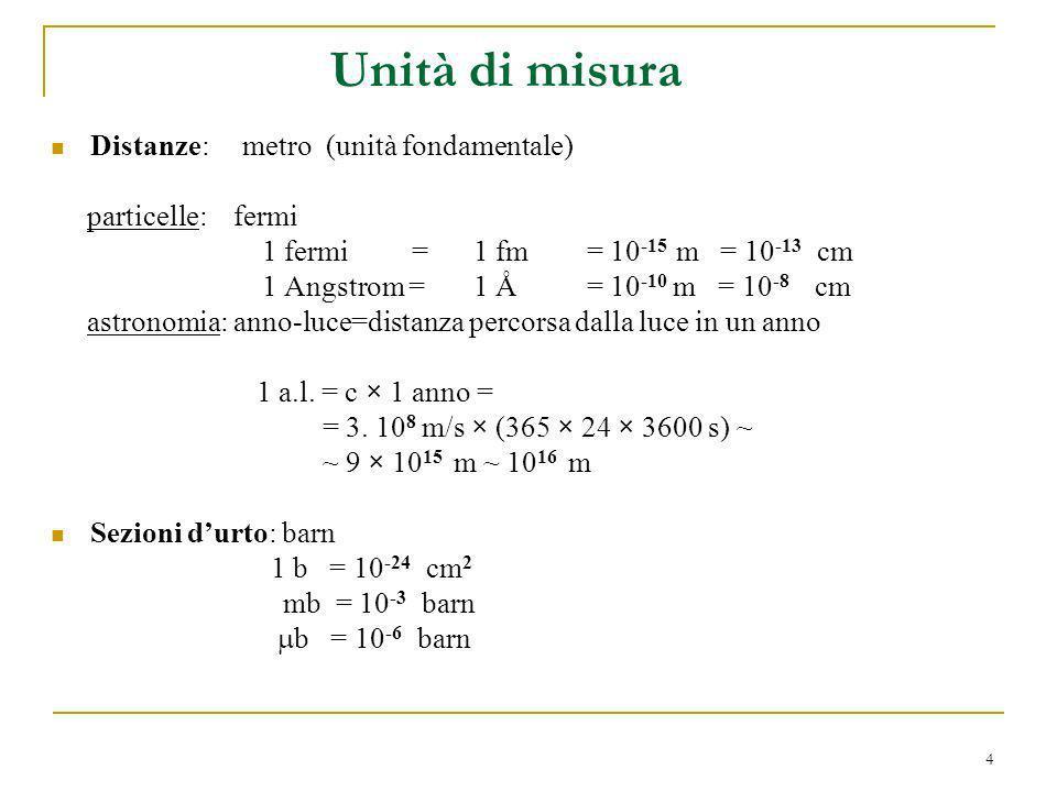 4 Distanze: metro (unità fondamentale) particelle: fermi 1 fermi =1 fm = 10 -15 m = 10 -13 cm 1 Angstrom = 1 Å = 10 -10 m = 10 -8 cm astronomia: anno-