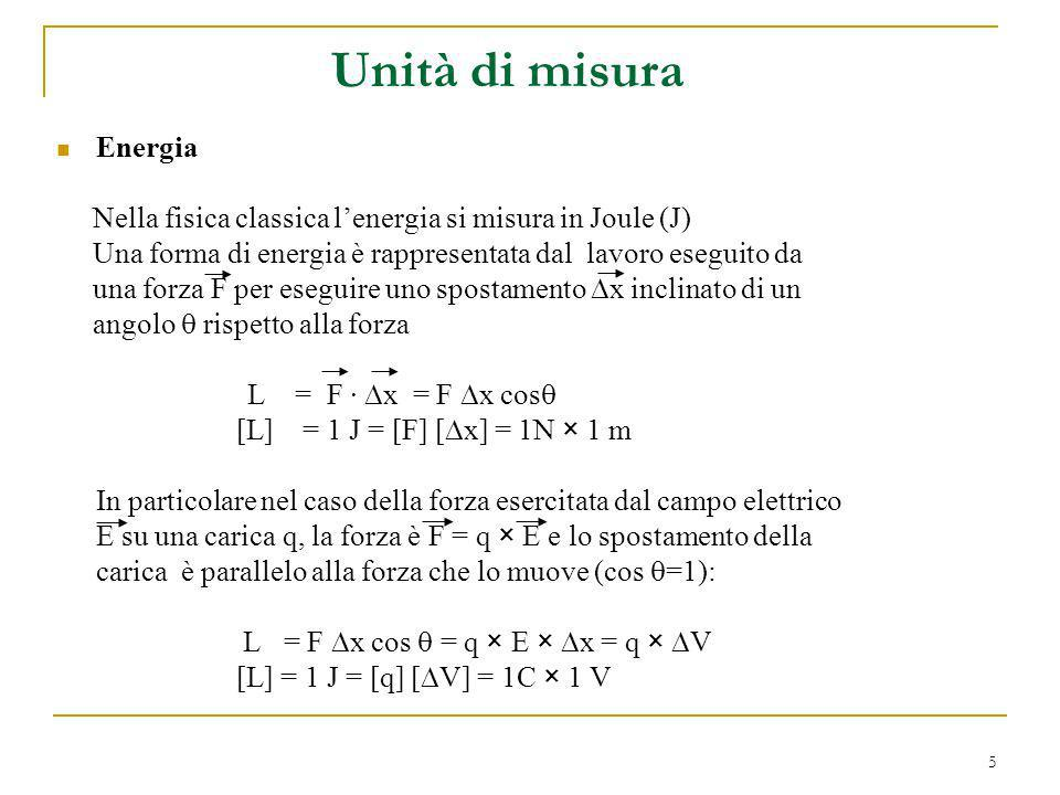 6 Energia (continua) In fisica nucleare e delle particelle si adopera come unità di misura lelettron-Volt, che rappresenta lenergia guadagnata da un elettrone quando viene accelerato da una differenza di potenziale di 1 Volt: 1 eV = q e × 1 V = 1.602 × 10 -19 C × 1 V = 1.602 × 10 -19 J I multipli dell eV sono: 1 keV= 1000 eV = 10 3 eV 1 MeV= 1000000 eV = 10 6 eV 1 GeV= 1000000000 eV = 10 9 eV Unità di misura (continua)