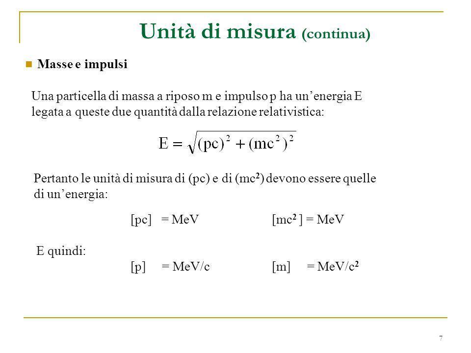 7 Masse e impulsi Una particella di massa a riposo m e impulso p ha unenergia E legata a queste due quantità dalla relazione relativistica: Pertanto l