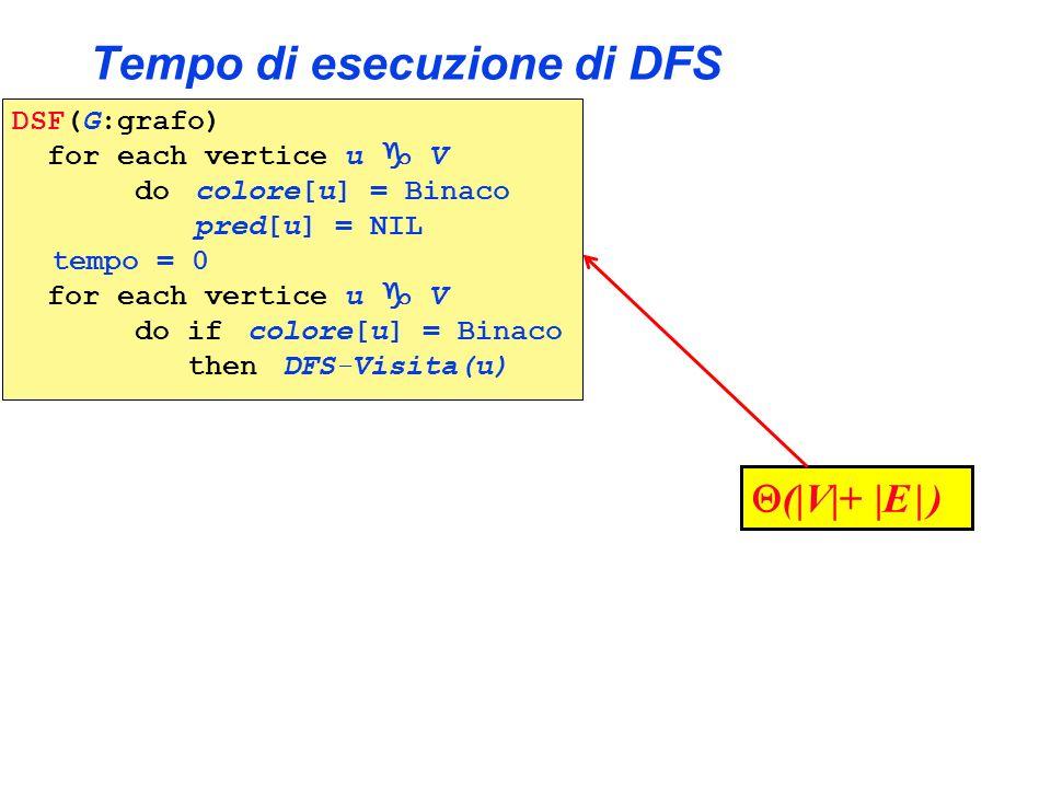 Tempo di esecuzione di DFS DSF(G:grafo) for each vertice u V do colore[u] = Binaco pred[u] = NIL tempo = 0 for each vertice u V do if colore[u] = Bina