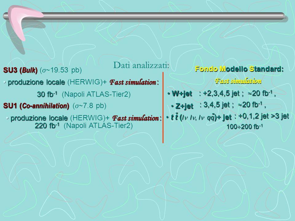 SU3 ( Bulk ) SU3 ( Bulk ) ( ~19.53 pb) produzione locale Fast simulation : produzione locale (HERWIG)+ Fast simulation : 30 fb -1 30 fb -1 (Napoli ATL